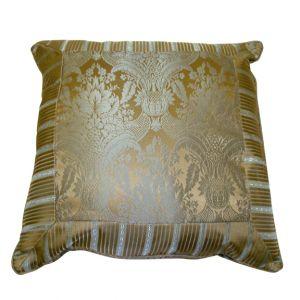 Pewter & Gold Damask Pillow