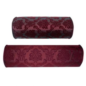 Large + Small Red Damask Bolster Pillow