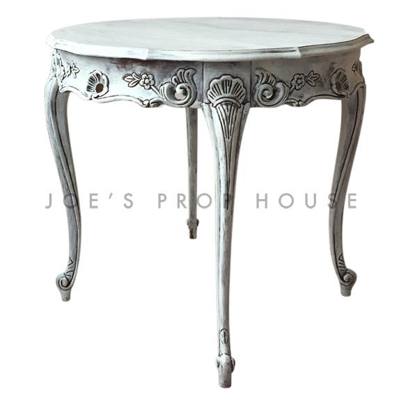 Flora Whitewash Round Side Table