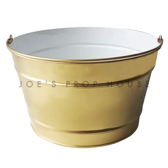 Gold Metal Bucket w/Handle