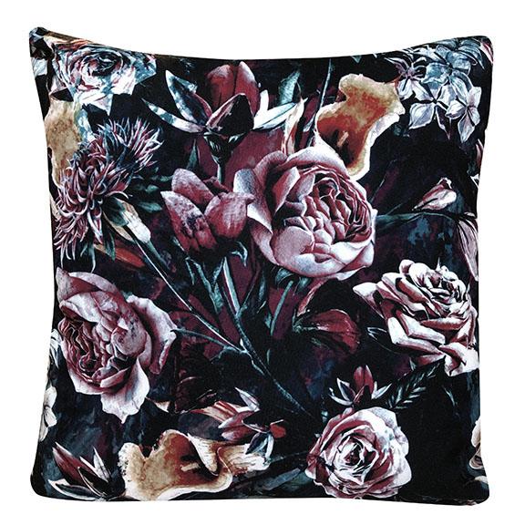 Midnight Garden Floral Accent Pillow