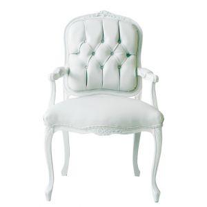 White Vinyl Louis XV Tufted Armchair