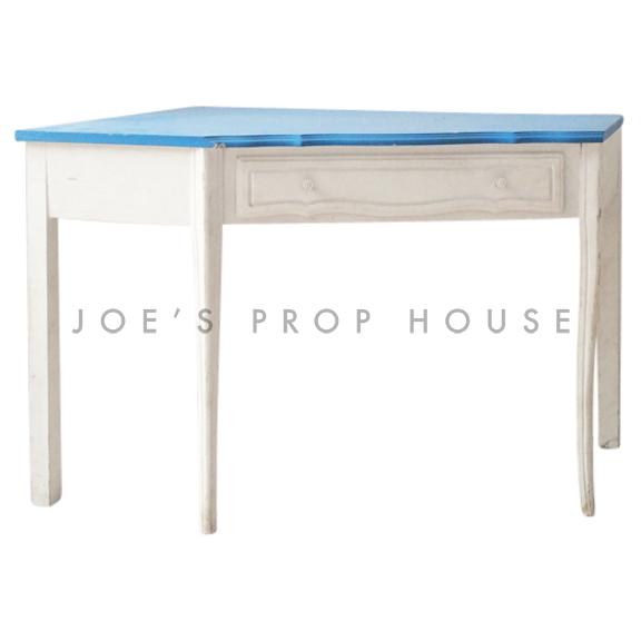 Corner Desk White w/Blue Top
