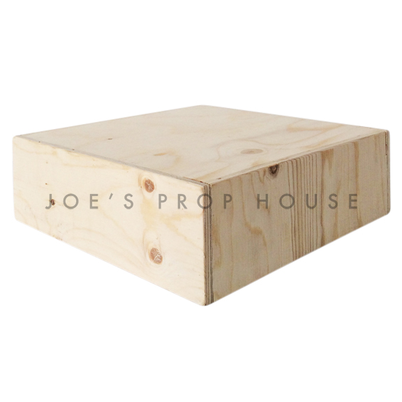 Natural Wood Square Display Riser W14.5in x D14.5 x H4.5in