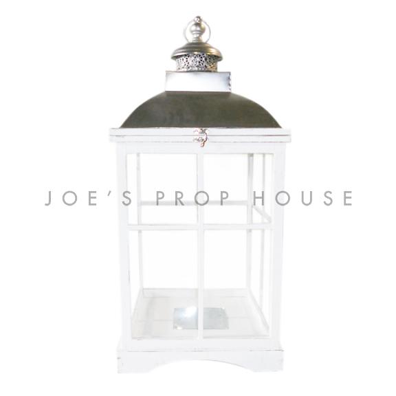 Square Wood Cottage Lantern White Large