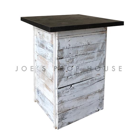 Whitewash Palette Cruiser Table w/BROWN Square Top