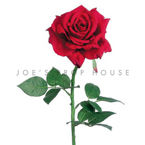 Artificial Long Stem Open Rose Red