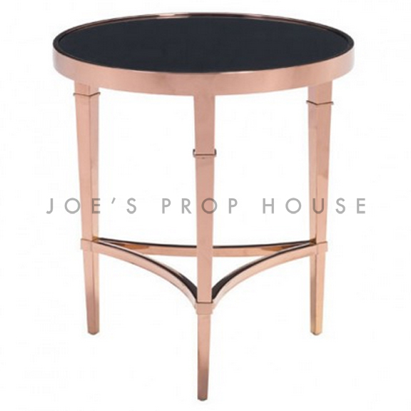Rose Gold Round End Table Black Glasstop
