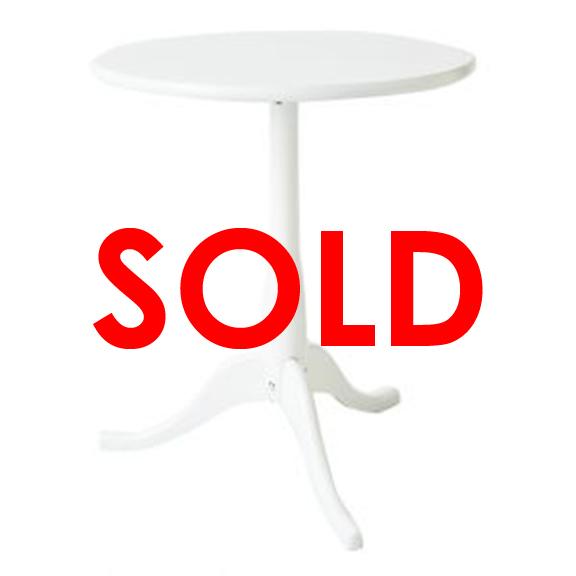 Round Pedestal End Table White
