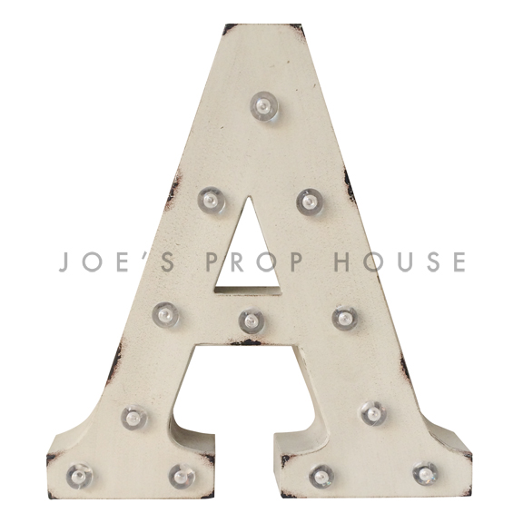 12in Ivory Metal Marquee Letter A