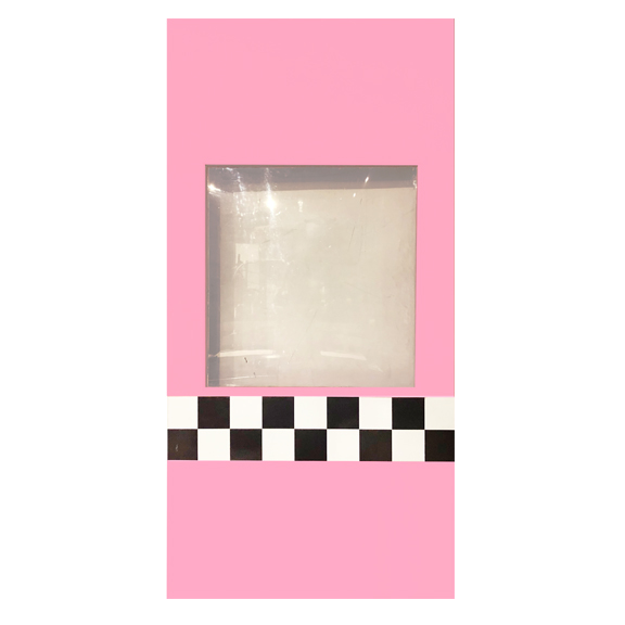 Pink Self-Standing Window Wall w/Black and White Checkered Stripe W4ft x H8ft