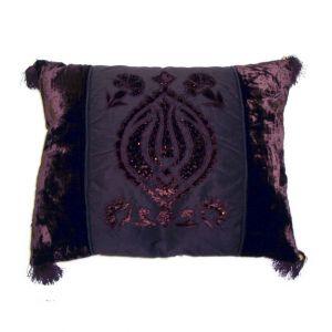 Brown Velvet Pillow w/ tassels