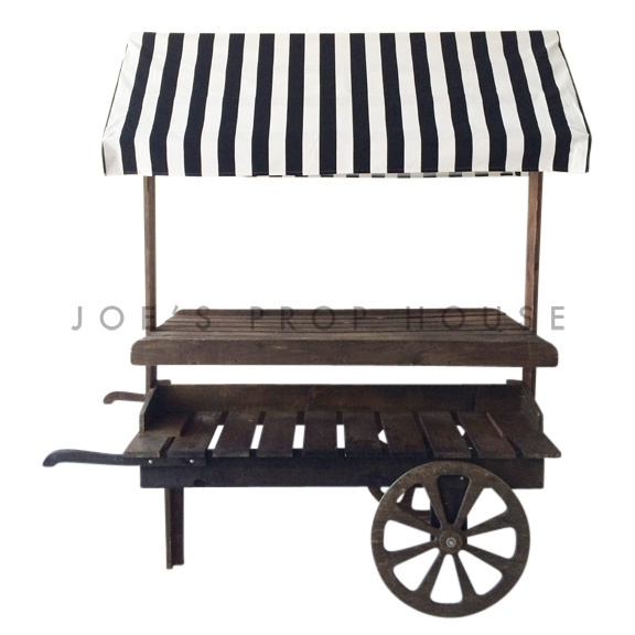 Wooden Market Cart w/Striped Black and White Awning