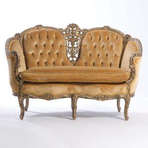 Louis XV Tufted Velour Loveseat Gold
