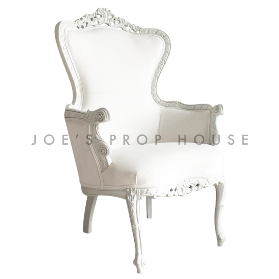 White Suede Baroque King Armchair