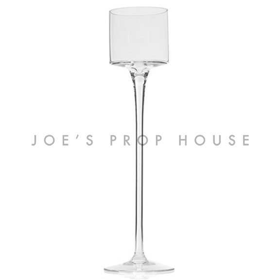Monet Clear Glass Stem Candle Holder H15in x D3.5in TALL