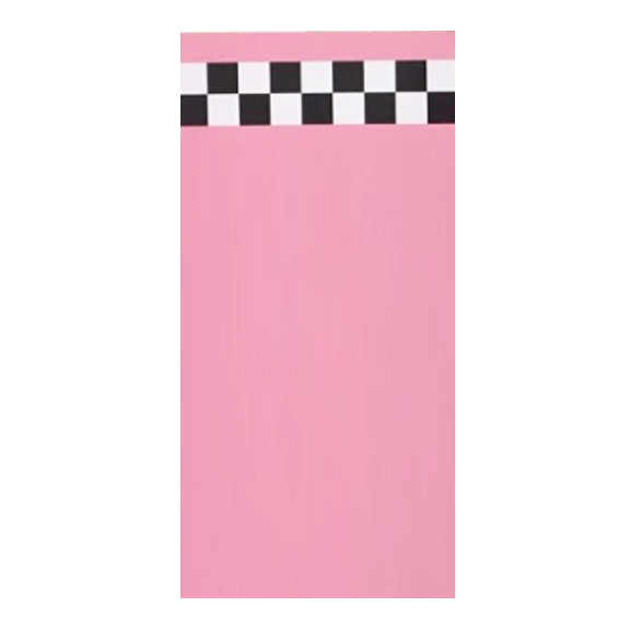 Pink Self-Standing Wall w/Black and White Checkered Stripe W4ft x H8ft MODEL B
