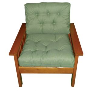 Barbara Armchair Green with Wood Frame
