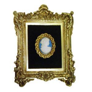 Gold Frame Blue Cameo Wall Art