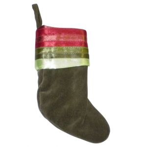 Green Velour Christmas Stocking