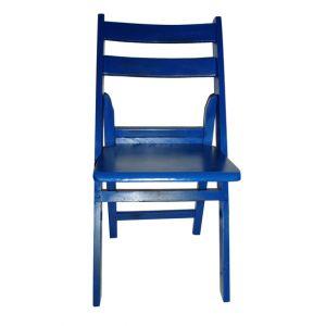 Blue Wood Folding Chair