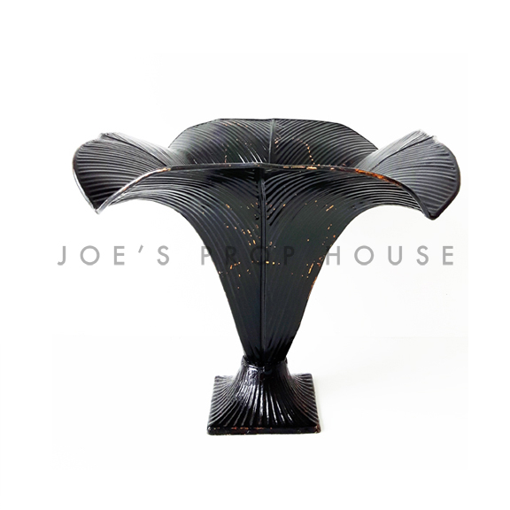 Tulip Metal Pedestal Vase Black W10in x D10in x H10in