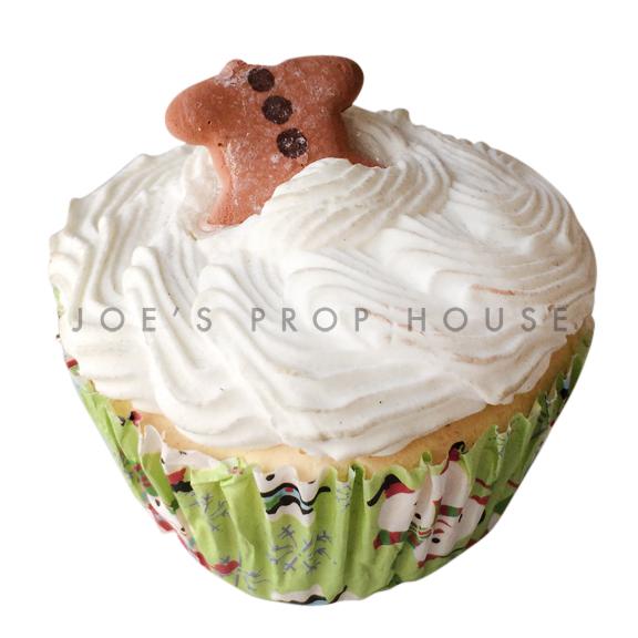 Headless Gingerbread Man Vanilla Cupcake Dessert Prop