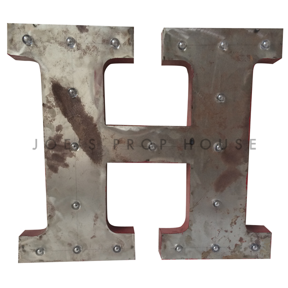 18in Galvanized Metal Marquee Letter H