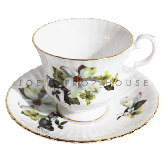 Hallow Floral Teacup and Saucer