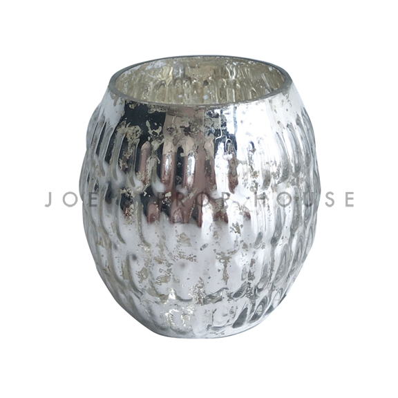 Silver Round Mercury Glass Bubble Votive H3in