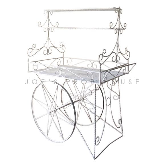 Decorative Metal Rolling Cart w/SHELVES White