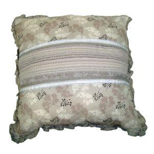 Beige Floral Pillow w/ ruffle trim