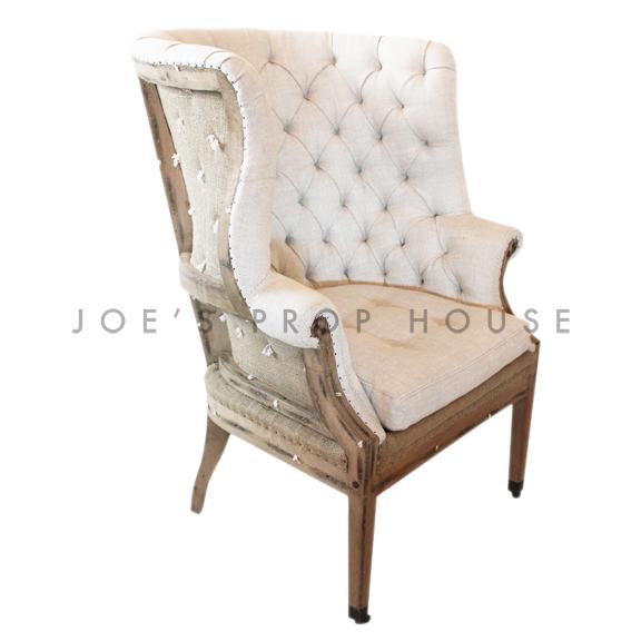 Deconstructed Tufted Linen Armchair