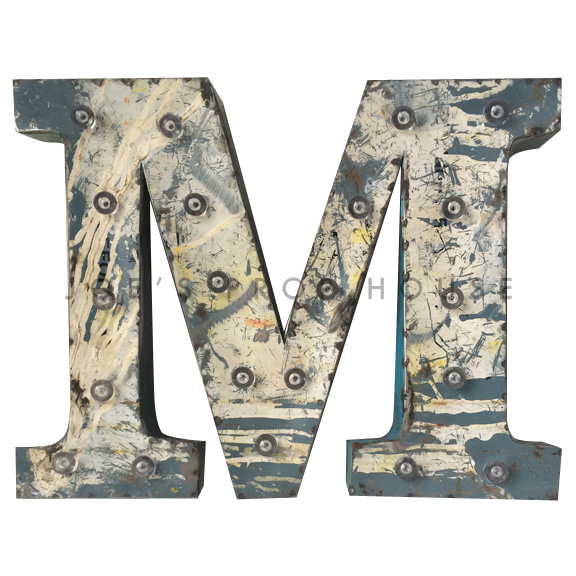 12in Recycled Metal Marquee Letter M