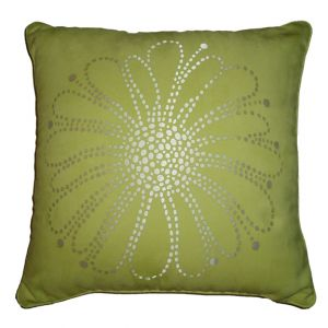 Ultra Suede Lime Green Flower Pillow