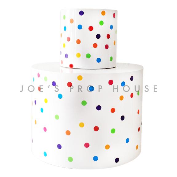Giant Rainbow 2 Tier Polka Dot Cake H5.5ft