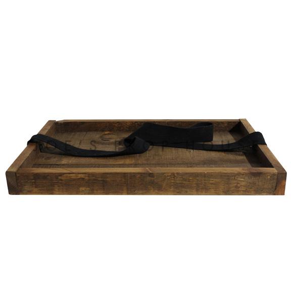 Wood Cigar Serving Tray w/strap Brown