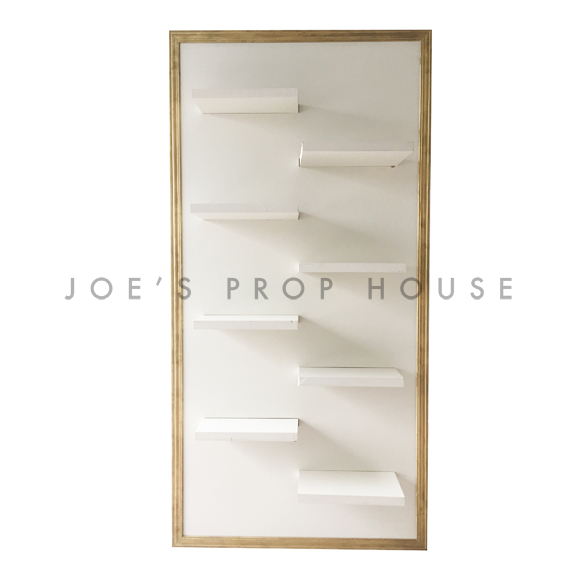 Self-Standing SHELF Wall Ivory w/Gold Molding W4ft x H8ft