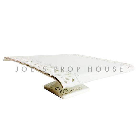 Decoupage Square Porcelain Cake Stand Ivory
