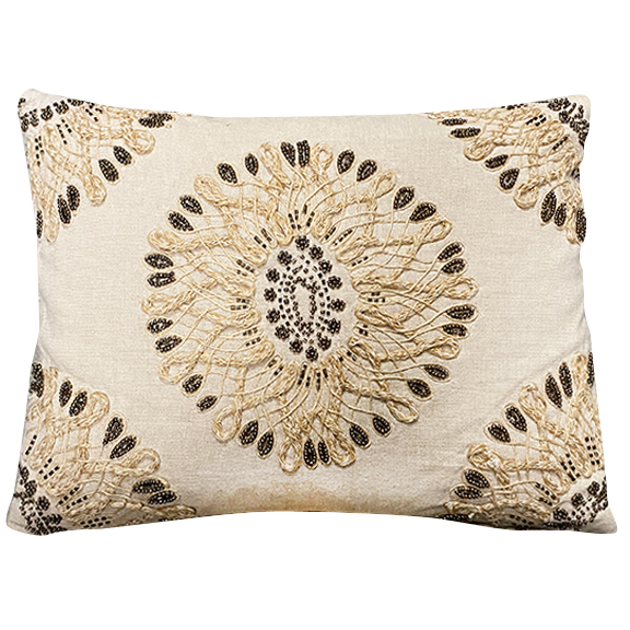 Jessie Rectangular Beaded Pillow Beige