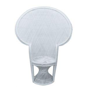 Round Back Wicker Chair White