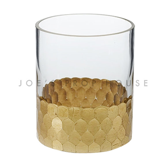 Clear Glass Cylinder Vase Hammered Gold Band H4in x D3.25in