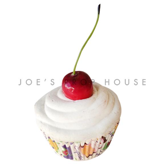 Vanilla Cream Cupcake w/Cherry on Top Dessert Prop