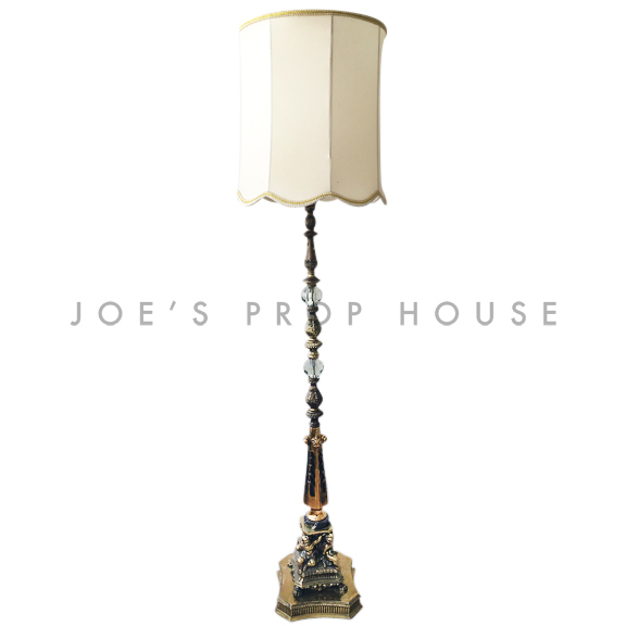 Abbey Brass Floor Lamp w/IVORY Lampshade