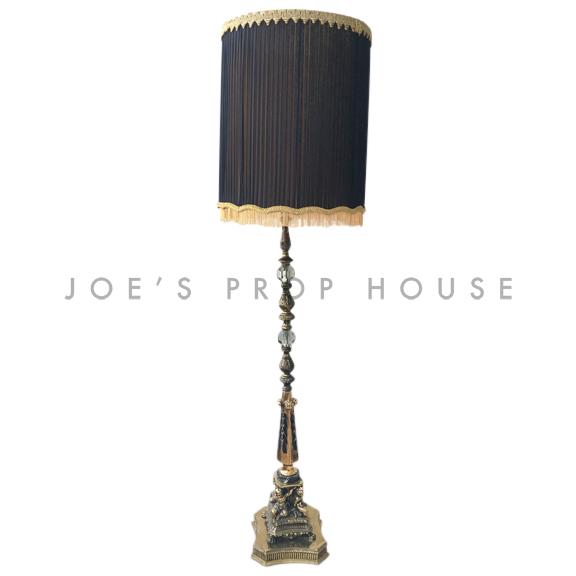 Abbey Brass Floor Lamp w/BLACK Lampshade