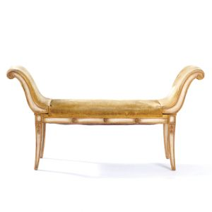 Distressed Velour Pierre Bench Gold W54in x D19in x H29in
