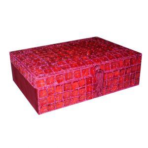SALE ITEM Red Beaded Jewelry Box