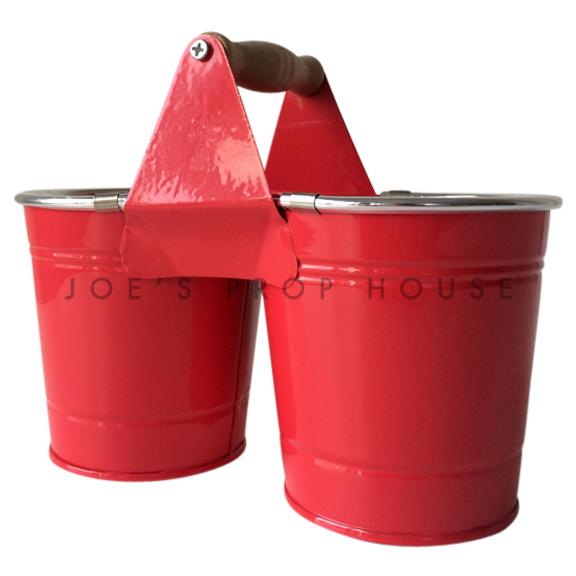 Duo Metal Bucket w/Handle Red