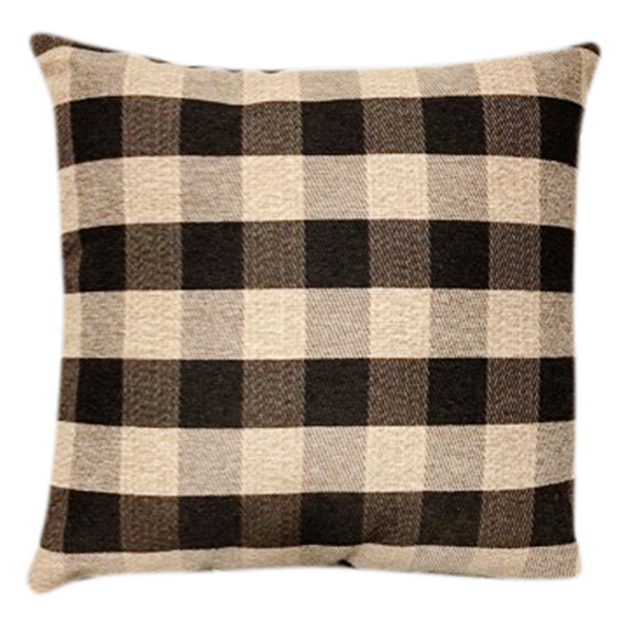 Beige and Black Buffalo Plaid Accent Pillow