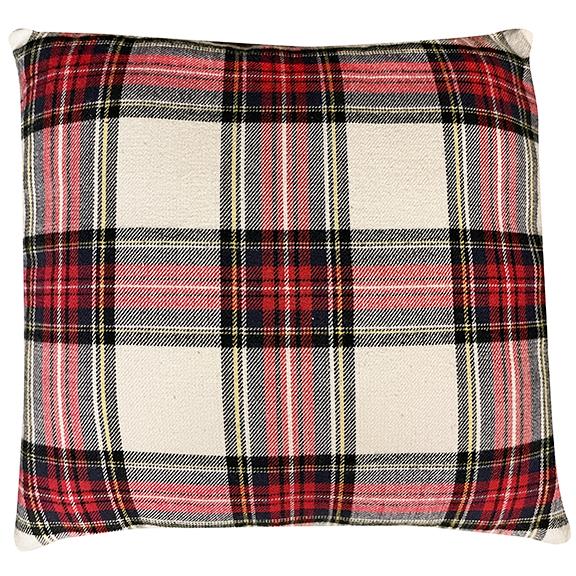 Tartan Pillow Red Black & Beige